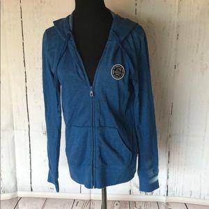 Blue zip up hooded sweatshirt w Vans patch